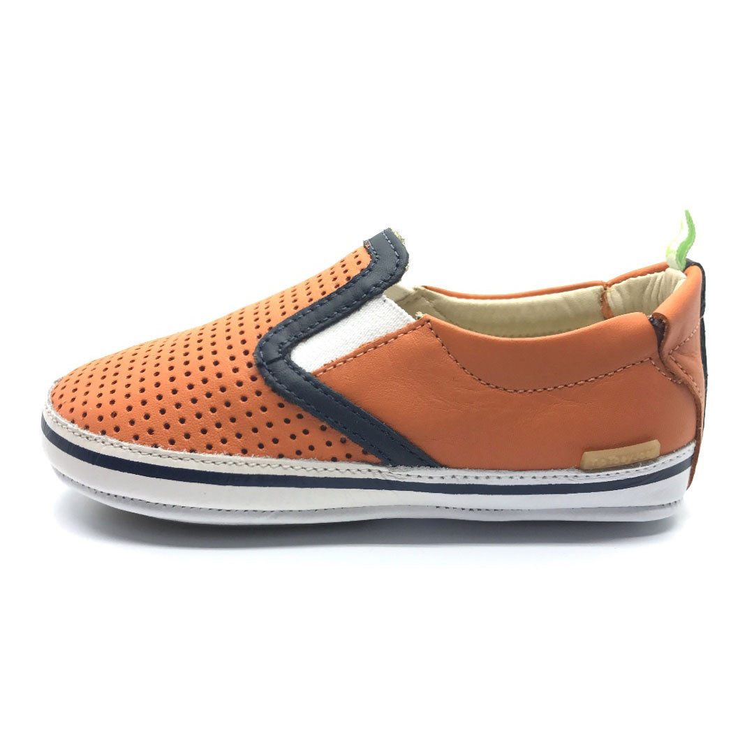 Woody Baby Shoe Tangerine/Navy