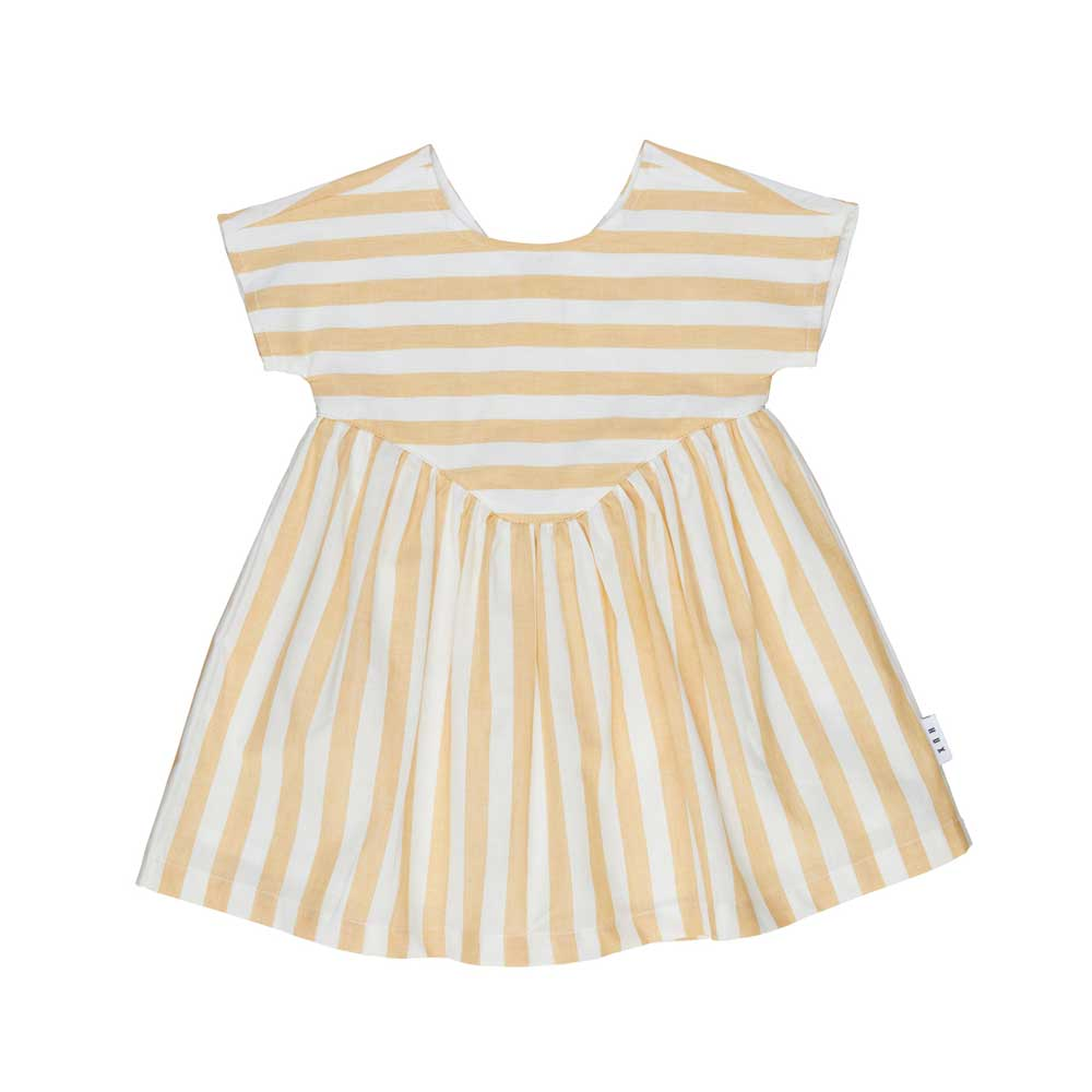 Yoke Girls Dress Golden Stripe