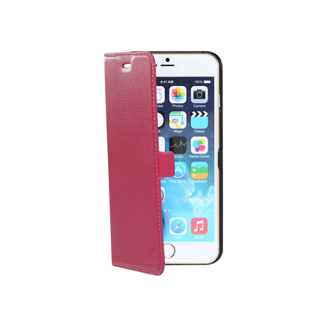 Book-type Magnetic flip case with credit card slot for Apple iPhone 6 Plus/6s Plus, Pink