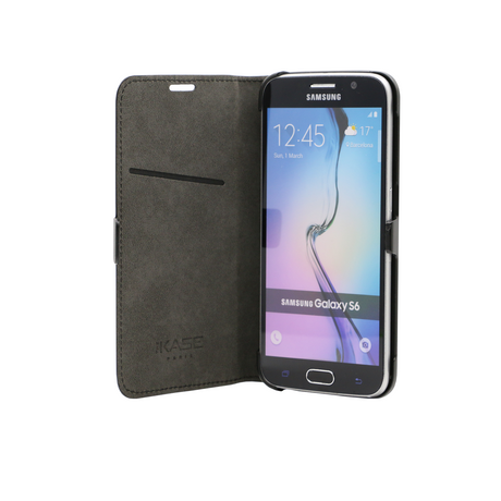 Book-type Magnetic flip case with credit card slot for Samsung Galaxy S6, Black