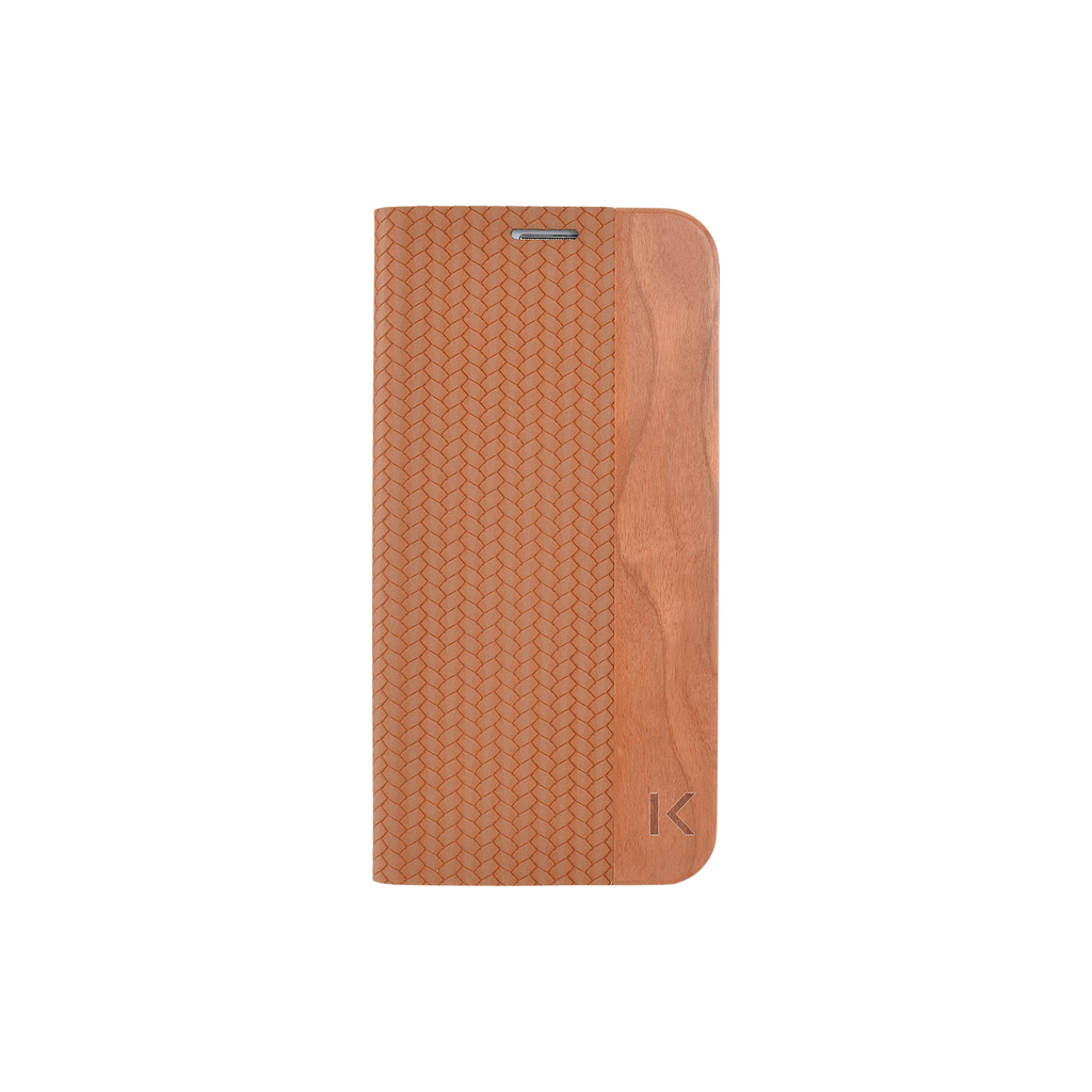 Flip case for Samsung Galaxy S6 Edge, Brown & Natural Cherry Wood