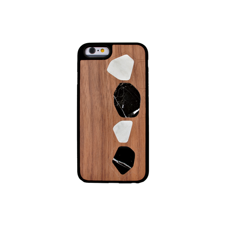 Naturalista Marble Walnut Wood case for Apple iPhone 6/6s, Black & White