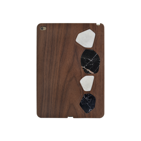 Naturalista Marble Walnut Wood case for Apple iPad Air 2, Black & White