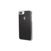 Ferrari 488 Genuine Leather case for Apple iPhone 7 Plus, Black/Silver horse logo