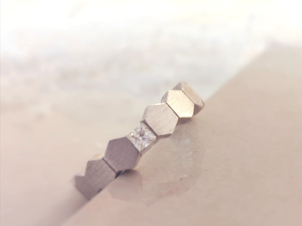 Match Me Verlobungsring mit Princess Cut Diamant in Weißgold