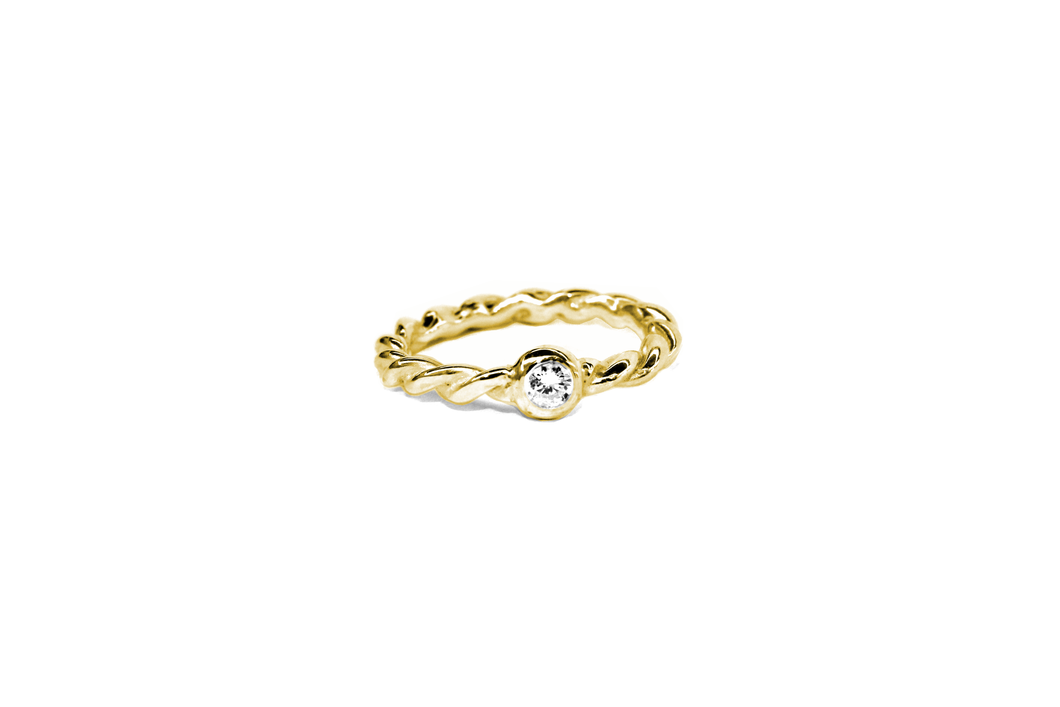 Twist Me Kordel Ring Brillant Gelbgold