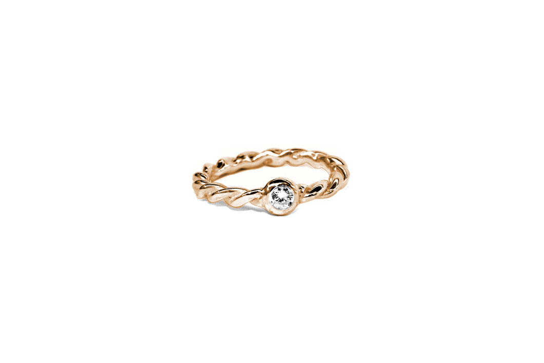 Twist Me Kordel Ring Brillant Rotgold