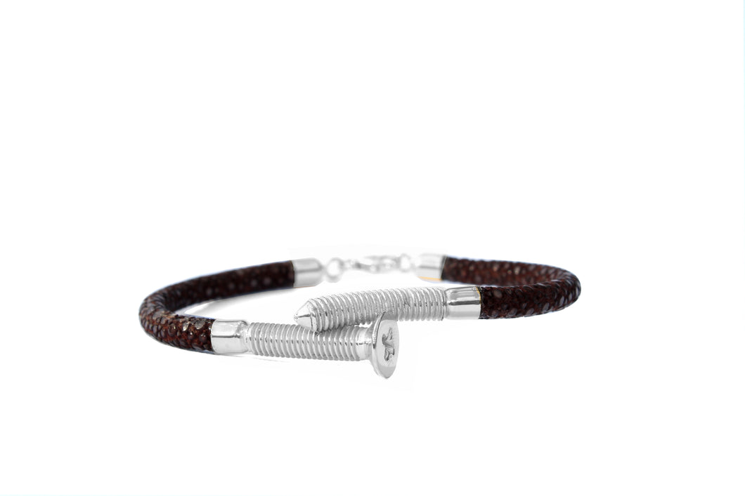 Rustic Ray Perlrochen Armband Schraube Silber