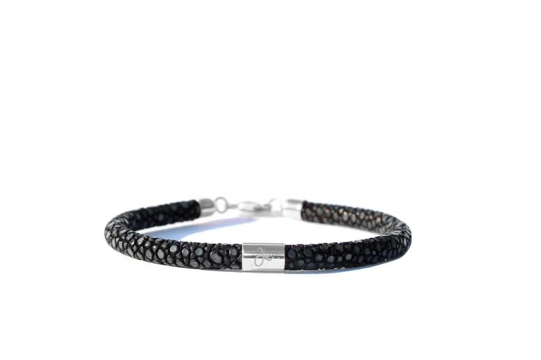Pearly Ray Perlrochen Armband schwarz Silber