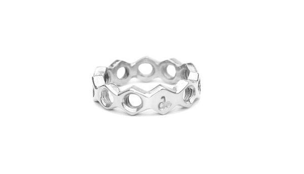 Side to Side Nut Schraubmutter Ring Silber