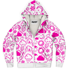 Weather Icon (White/Pink) Zip-Up Hoodie