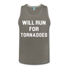 Will Run For Tornadoes Men's Tank - charcoal gray