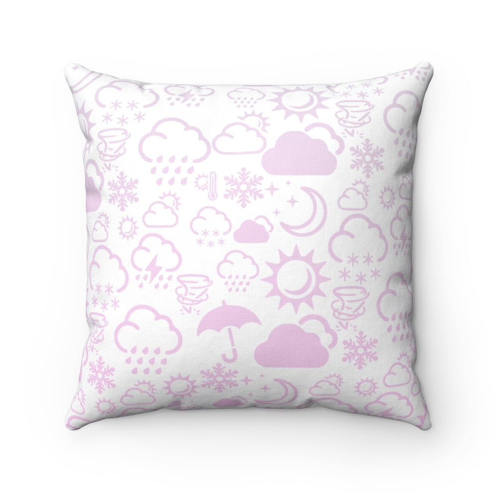 Weather Icon Square Pillow - Baby Pink