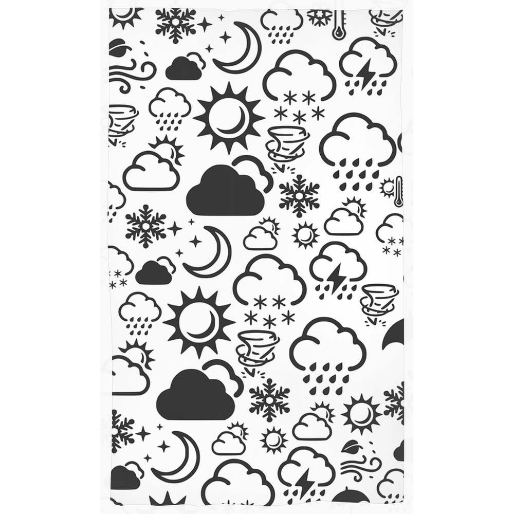 Weather Icon Curtains - Black