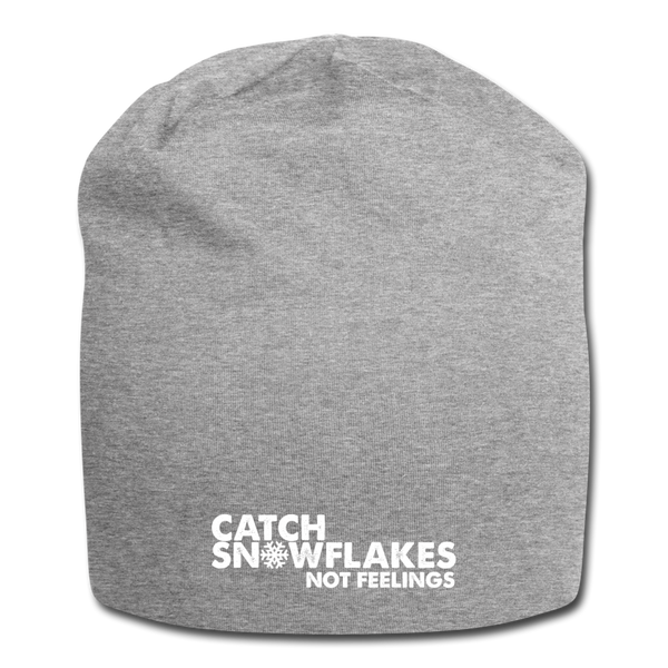 Catch Snowflakes Not Feelings Jersey Beanie - heather gray