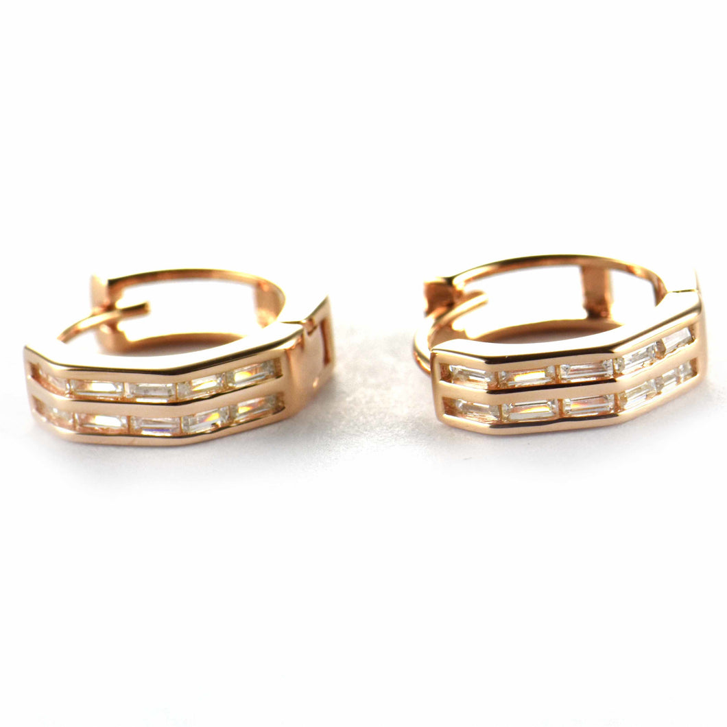 13mm circle silver earring with rectangle CZ & pink gold plating