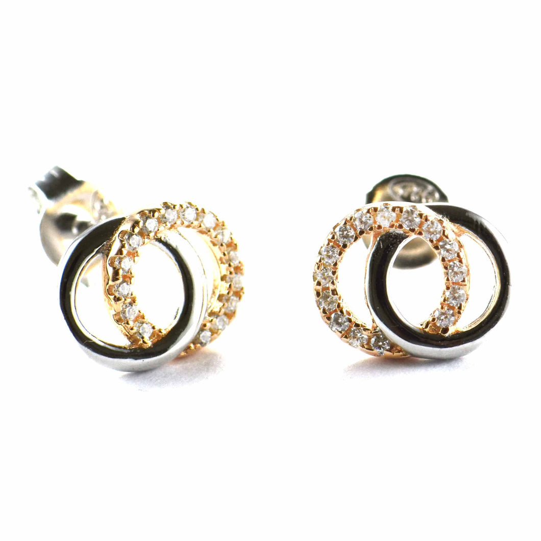 2 circle silver earring with pink gold plating