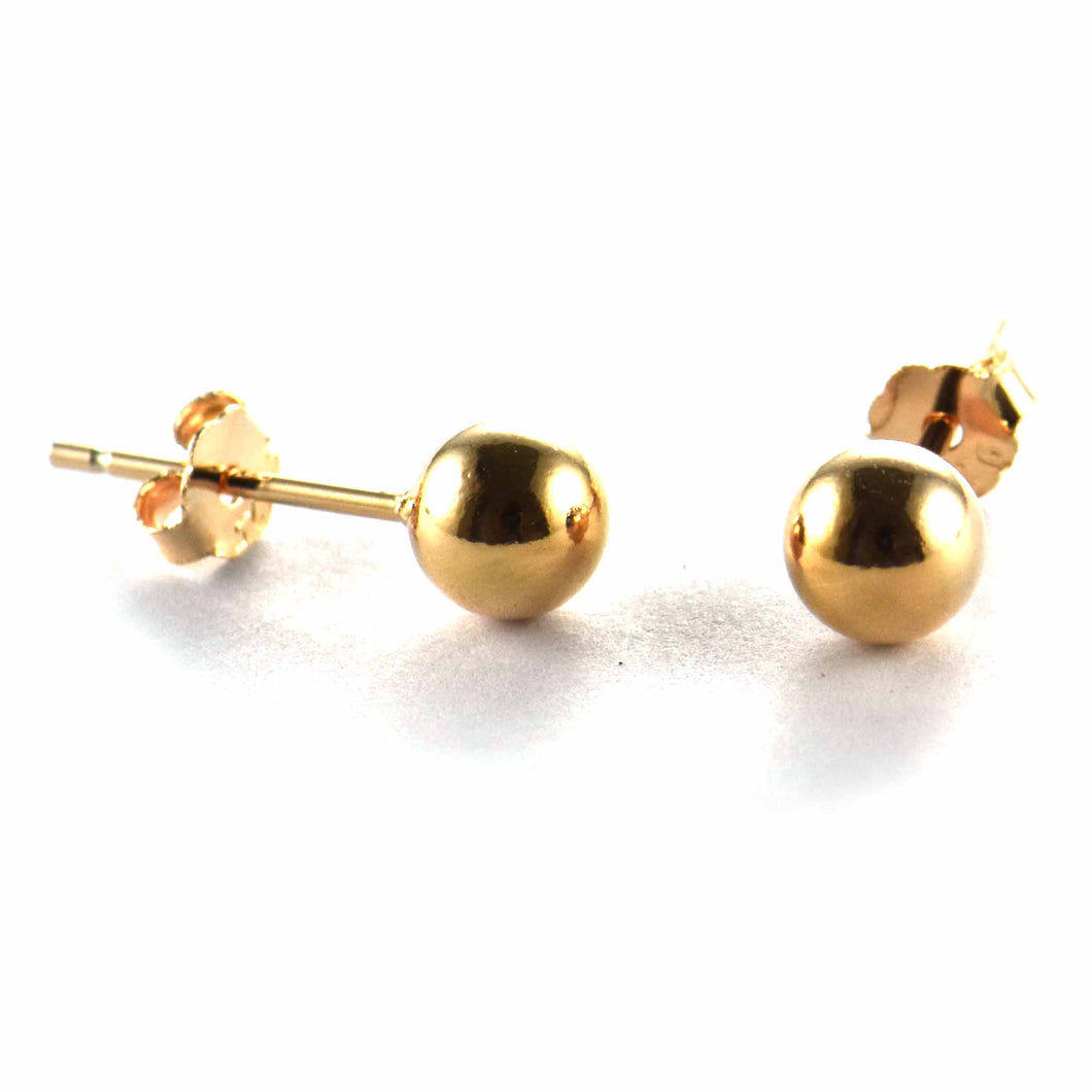 6mm silver ball studs earring with pink gold plating