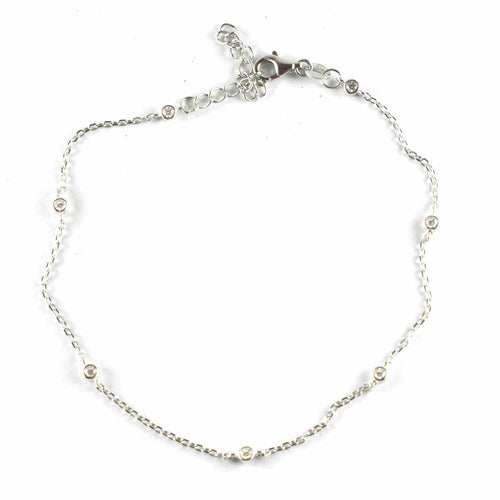 7 white CZ silver anklet
