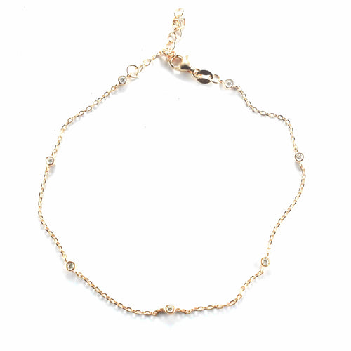 7 CZ silver anklet with pink gold plating