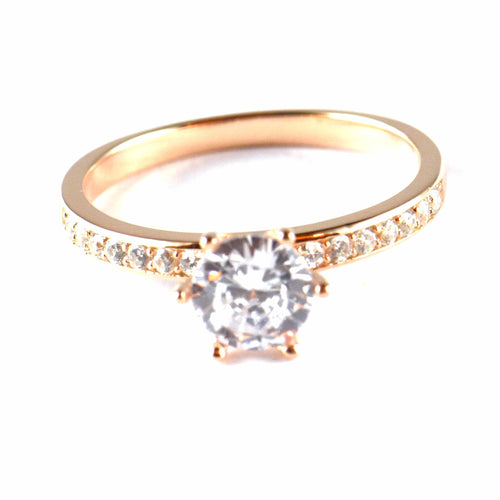 7mm CZ silver wedding ring with pink gold plating
