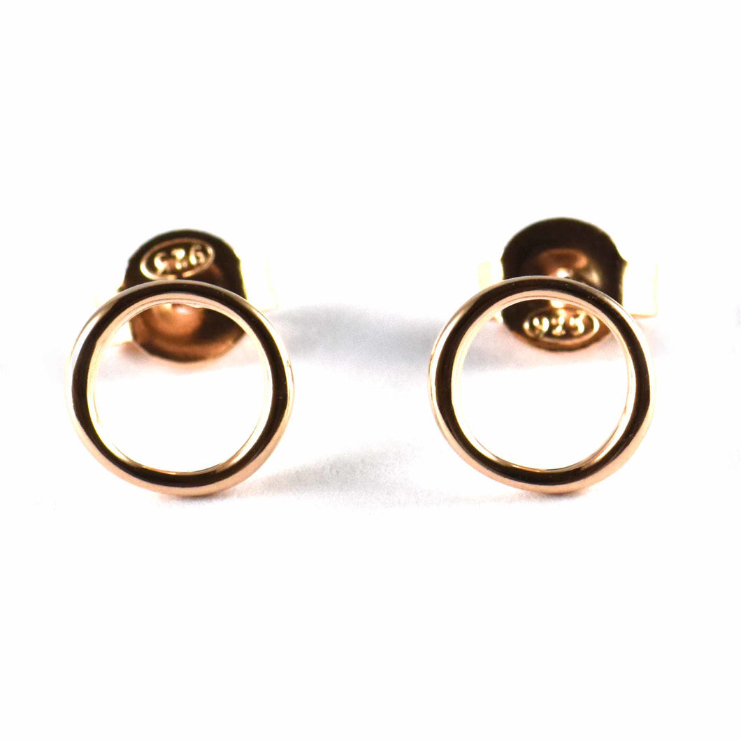 8mm circle pattern silver studs earring with pink gold plating
