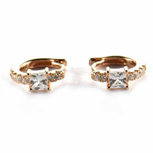 8mm circle silver earring with square CZ & pink gold plating
