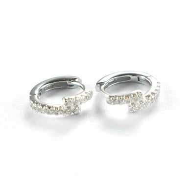 9mm circle earring with white CZ