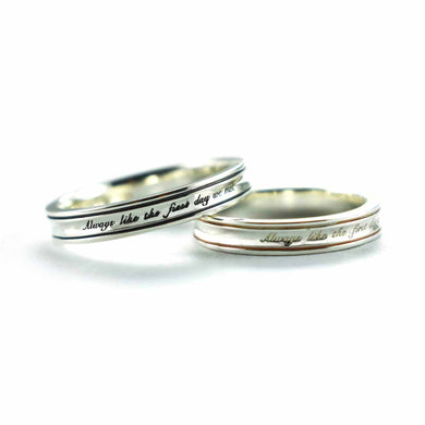 Always like the first day we met silver couple ring