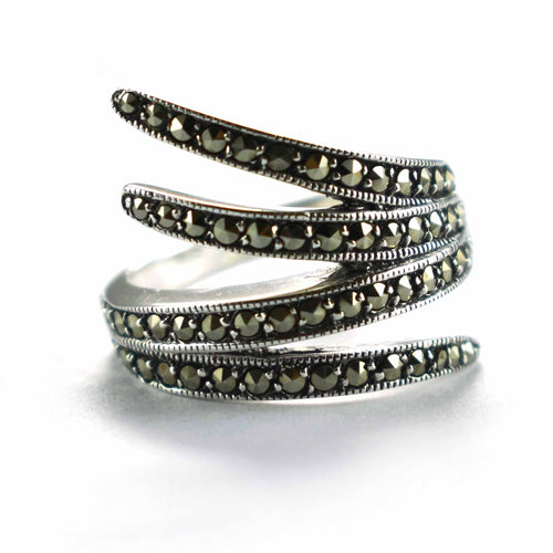 Art style silver ring with marcasite