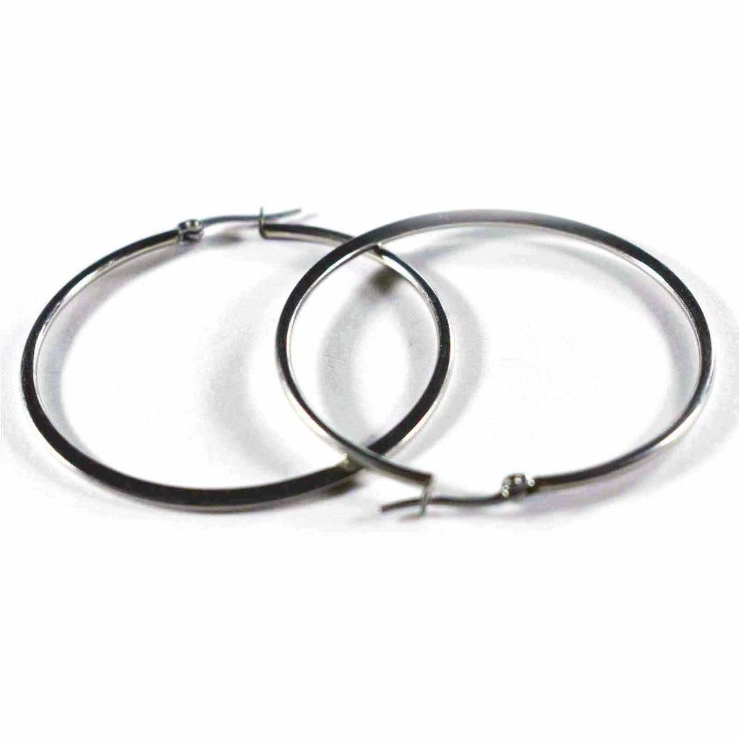 Flat pattern stainless steel circle earring 50 mm diameter