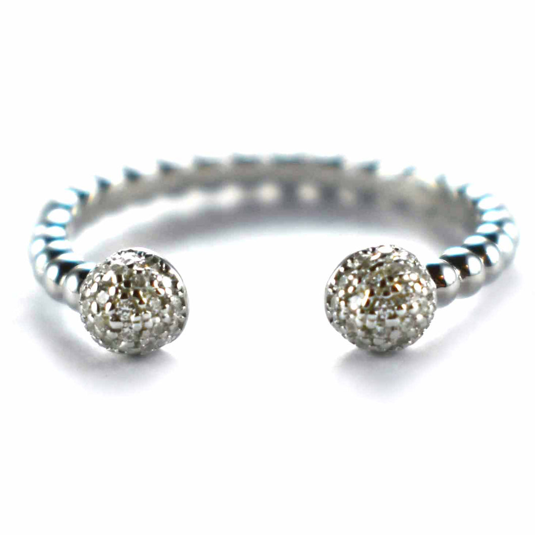 Ball pattern silver ring with CZ & platinum plating