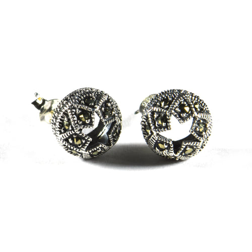 Ball & star silver studs silver earring with marcasite
