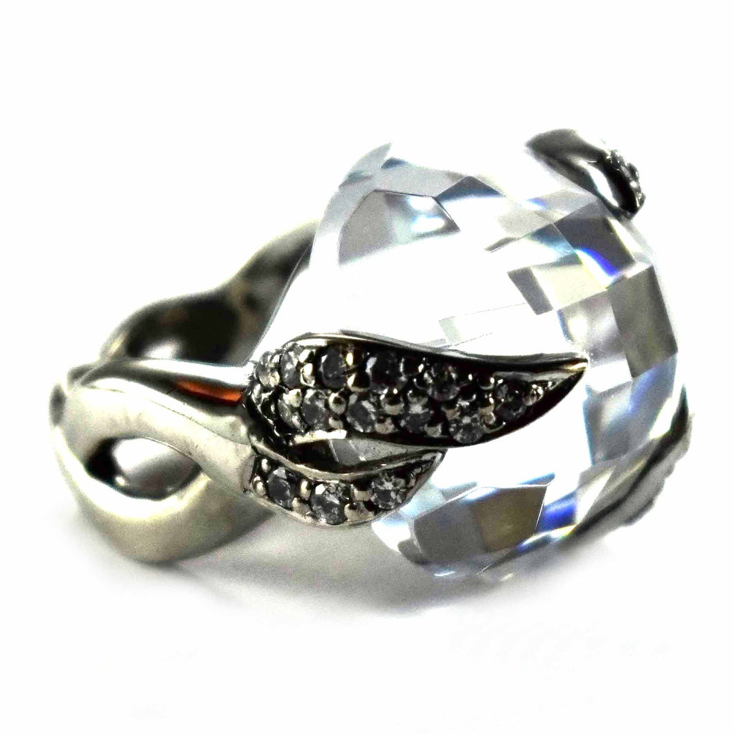 Ball white cubic zirconia with some small CZ silver ring