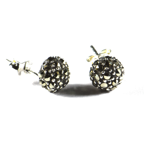 7mm Ball silver studs earring with marcasite