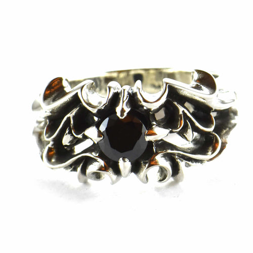 Bat silver ring with black CZ