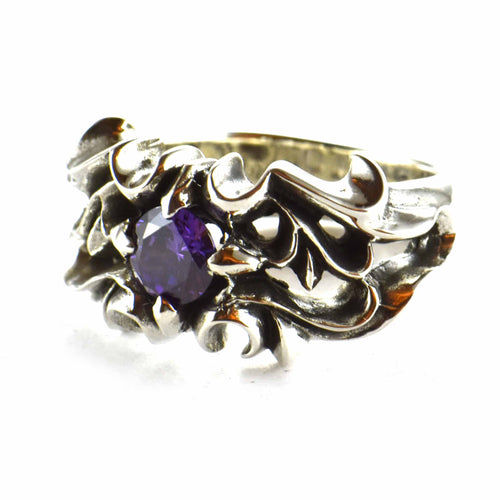 Bat silver ring with purple CZ