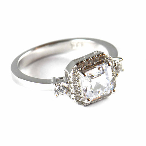 Big square & small CZ silver wedding ring