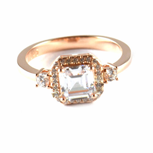 Big square & small CZ silver wedding ring with pink gold plating