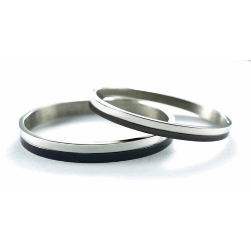Black & silver stainless couple bangle