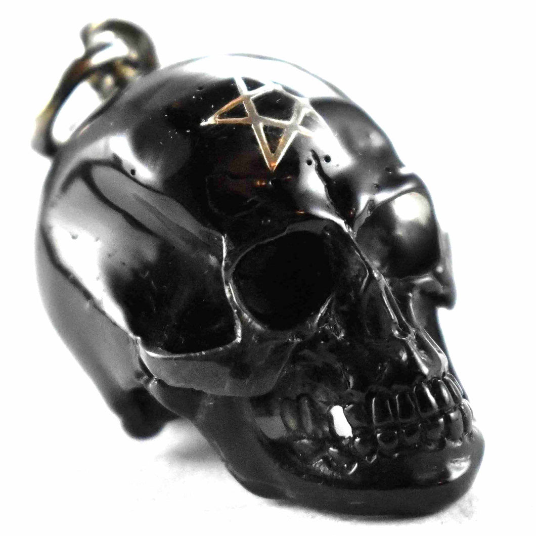 Black color with star pattern skull silver pendant