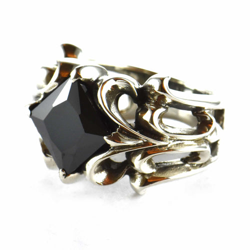 Black square CZ silver ring