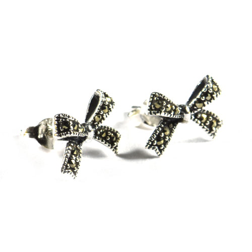 Bow silver studs earring with marcasite