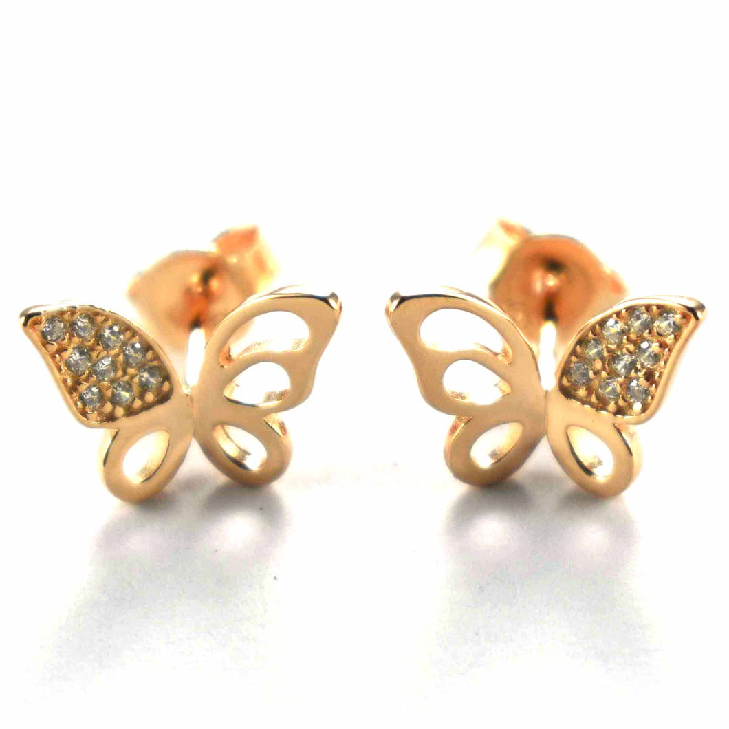 Butterfly earring with white CZ & pink gold plating
