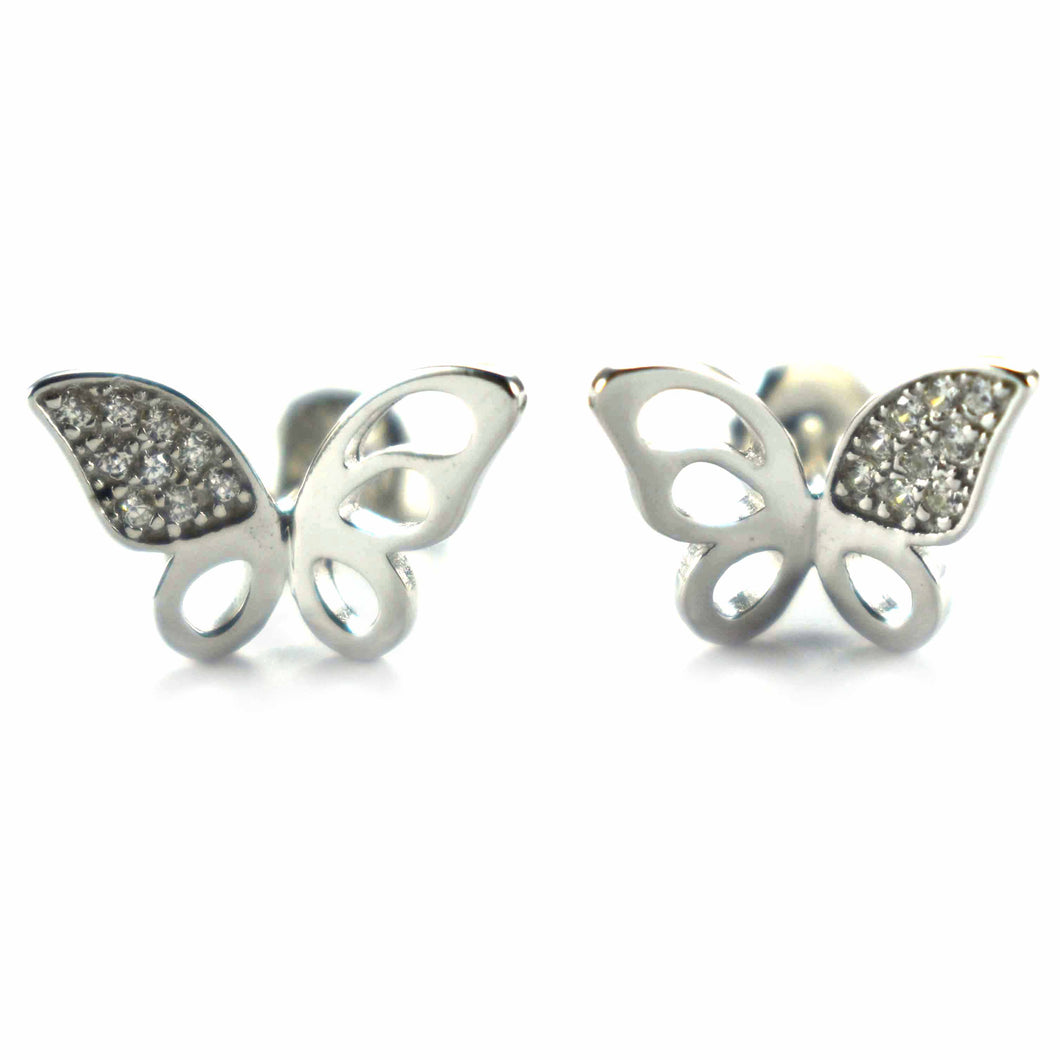 Butterfly silver earring with white CZ & platinum plating