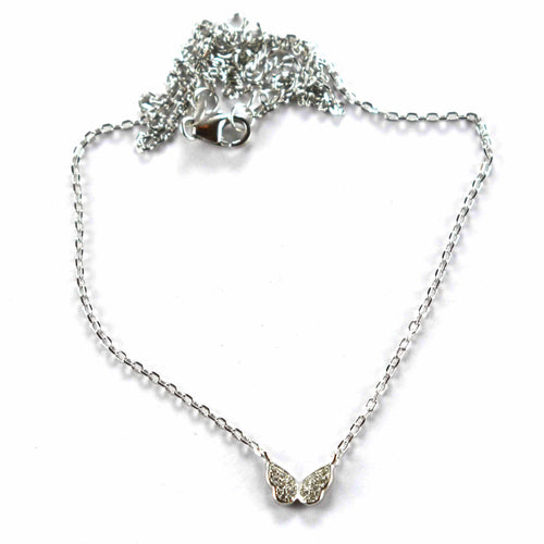 Butterfly silver necklace with white CZ