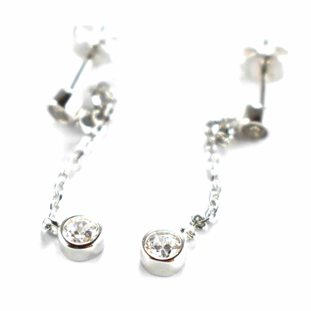 Chain earring with white CZ & platinum plating