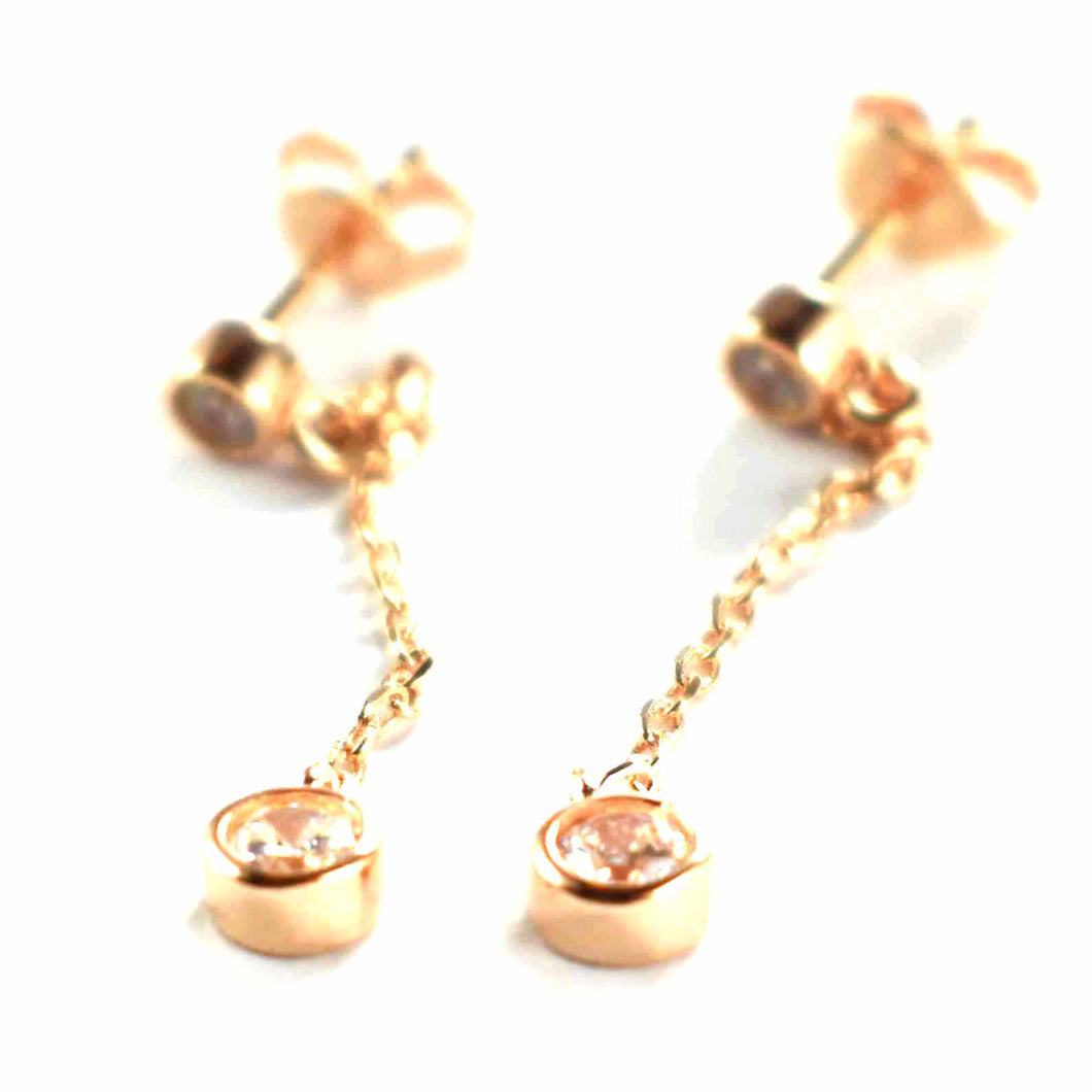 Chain silver earring with white CZ & pink gold plating