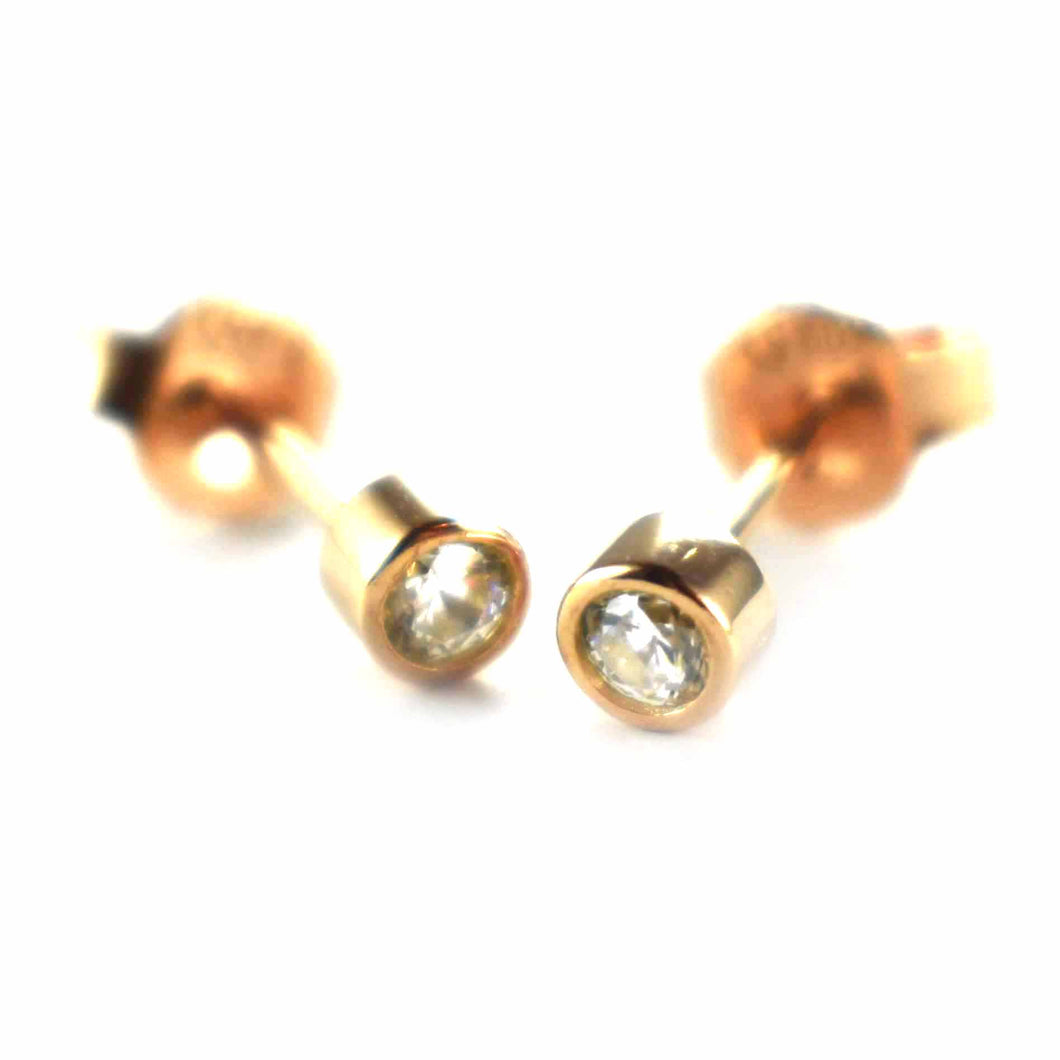 Channel set silver earring with white CZ & pink gold plating