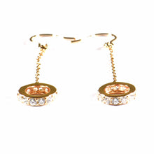 Circle & chain silver earring with CZ & pink gold plating